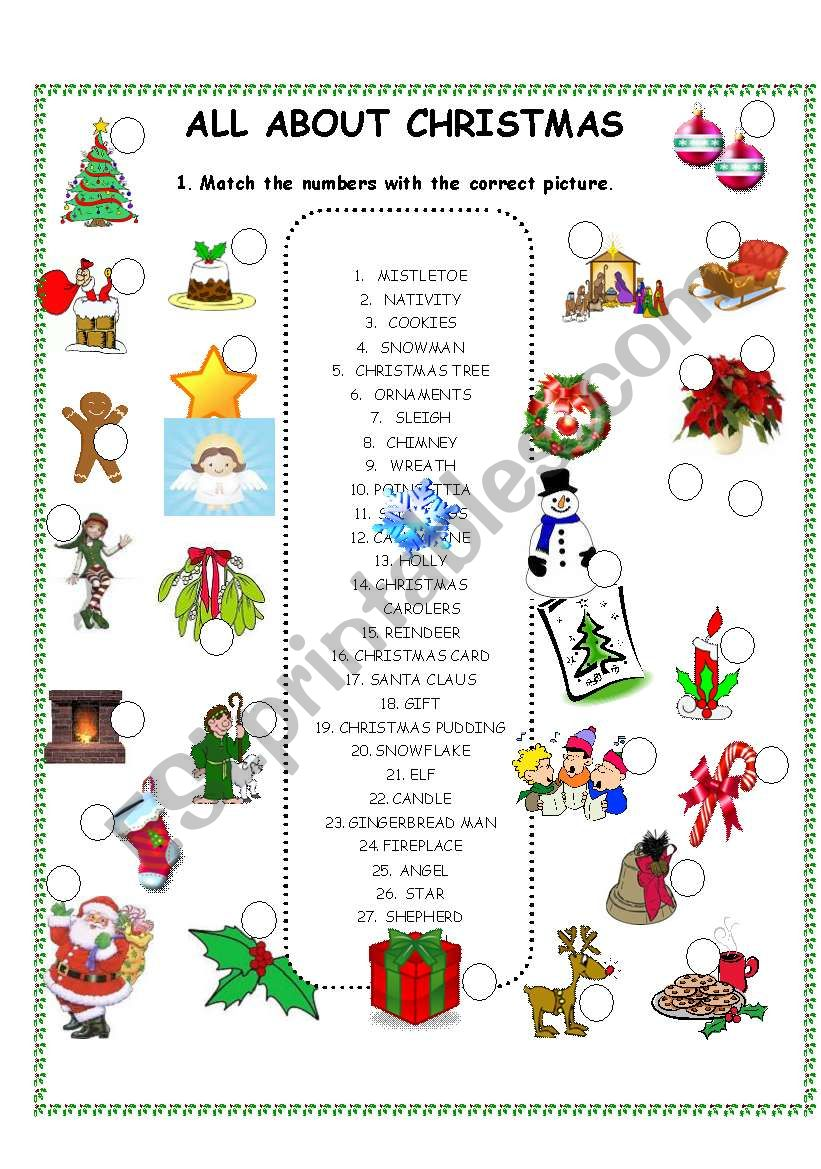 All about Christmas worksheet - matching