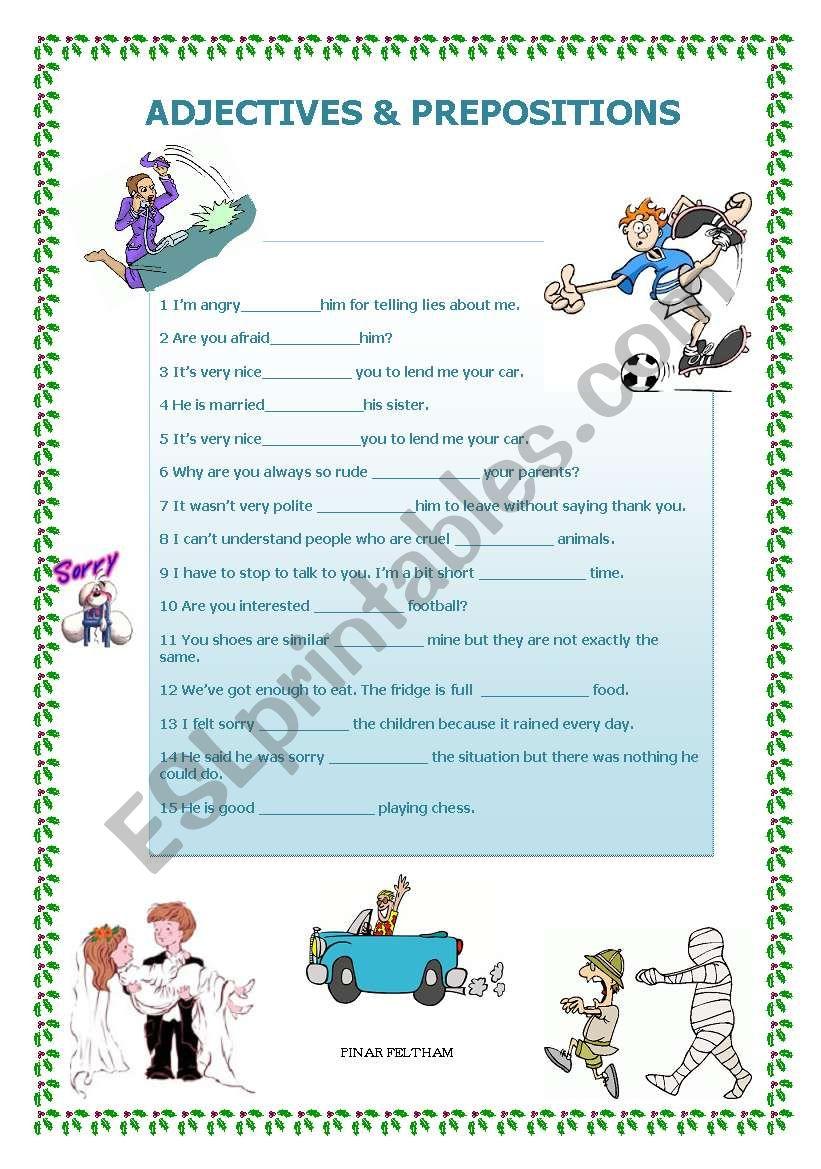 adjectives & preposition worksheet