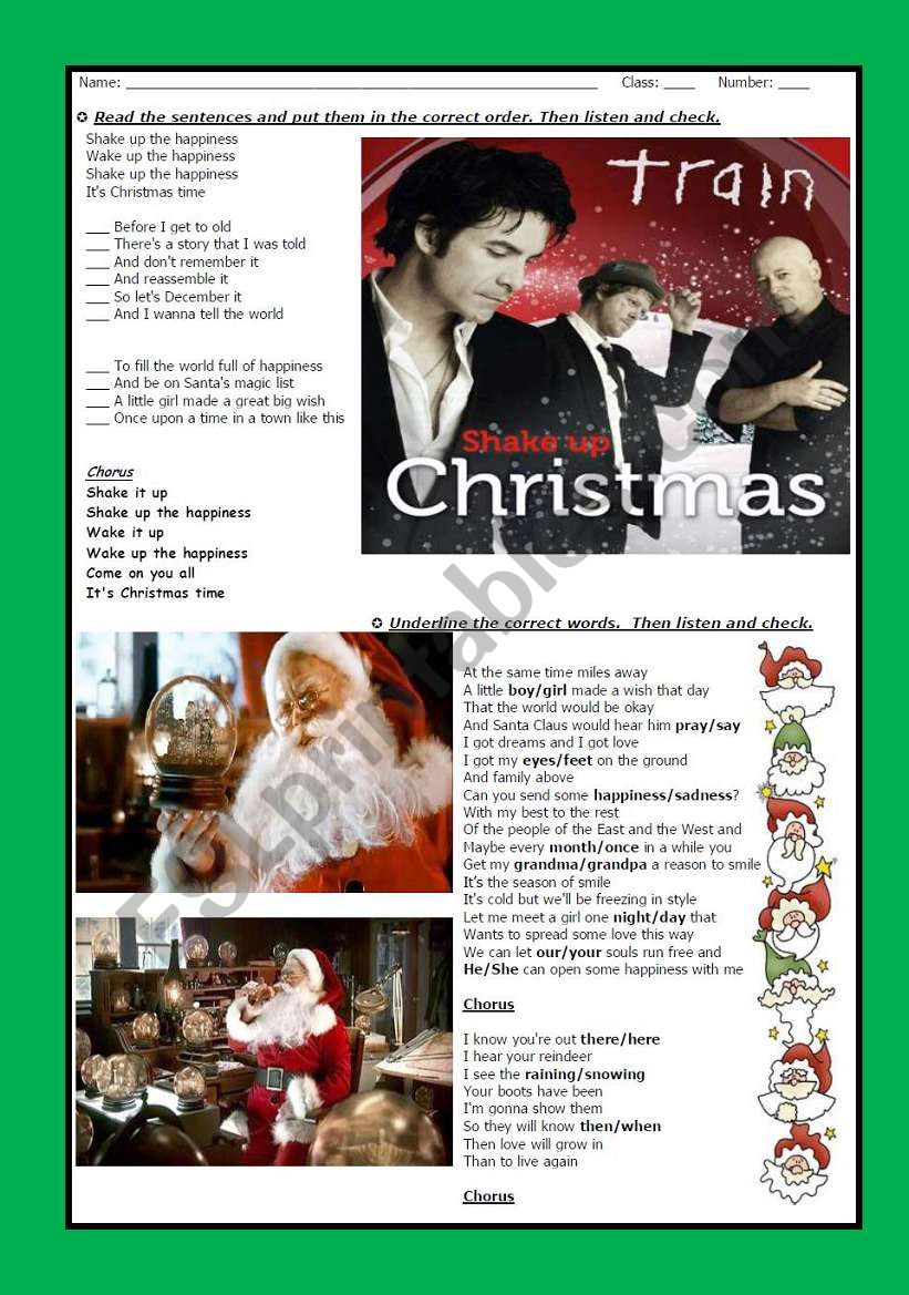 SONG: SHAKE UP CHRISTMAS - with answer key