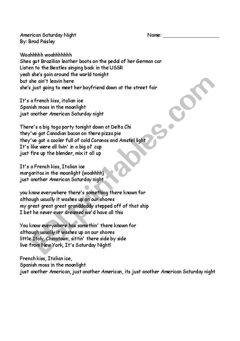 English worksheets: American Saturday Night Lyrics Analysis