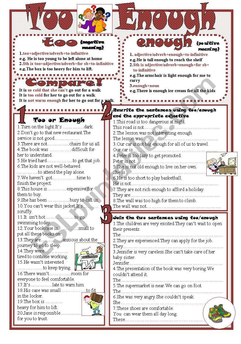 Too-Enough worksheet