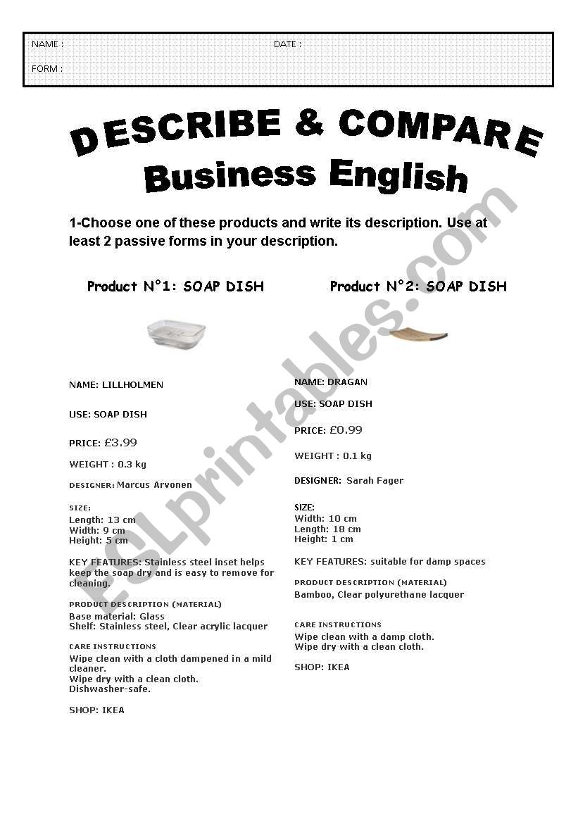 DESCRIBE & COMPARE A PRODUCT: BUSINESS ENGLISH - 3 pages