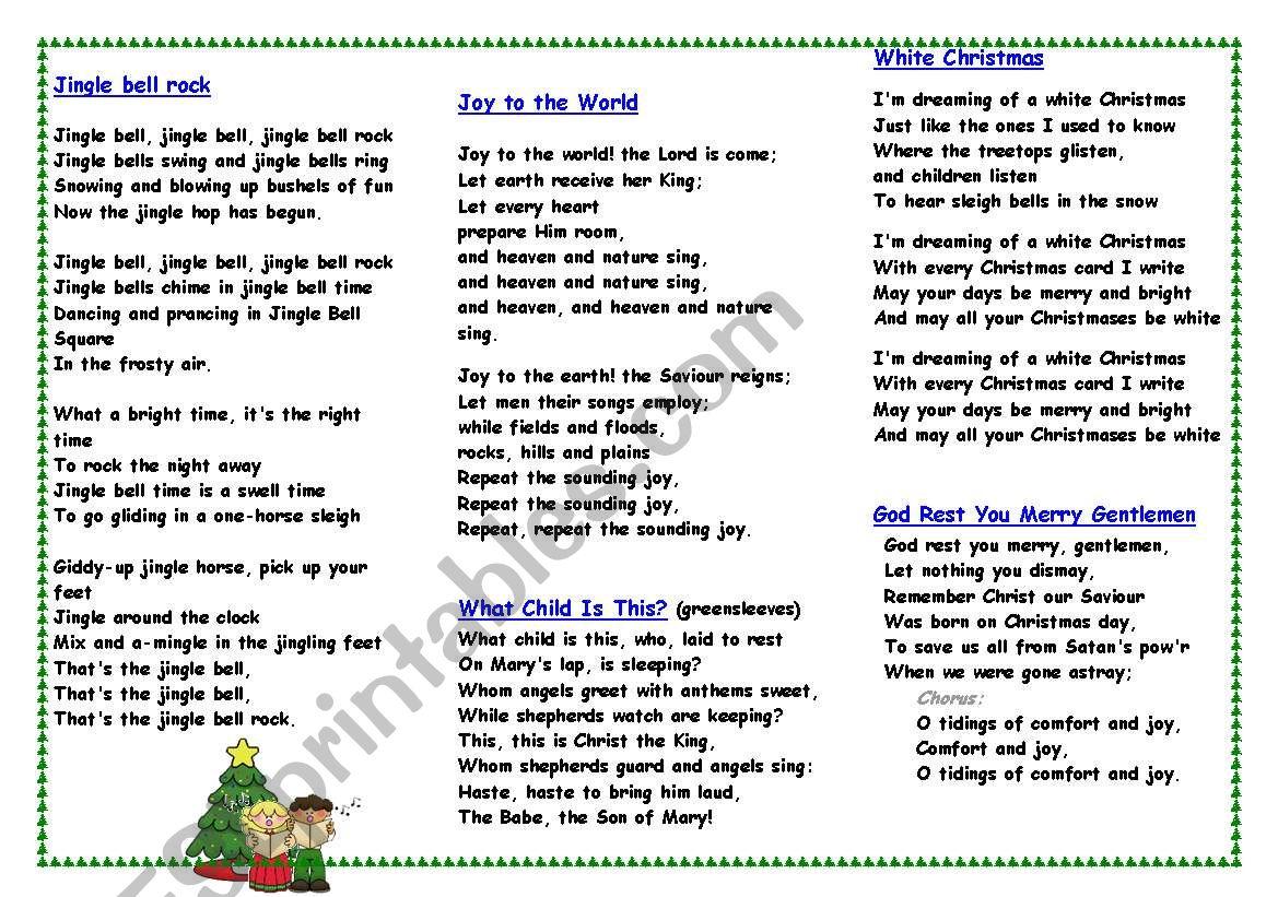 Christmas carols and songs worksheet