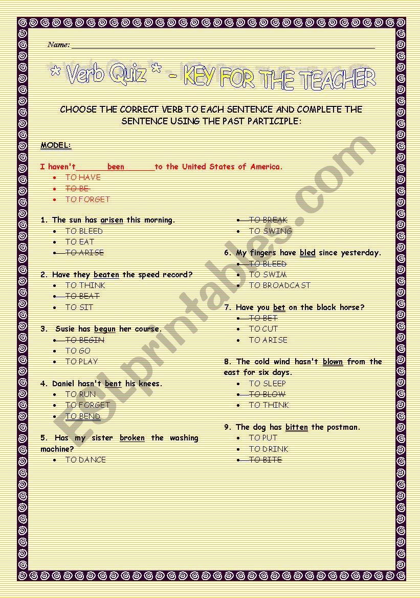 Verb Quiz worksheet