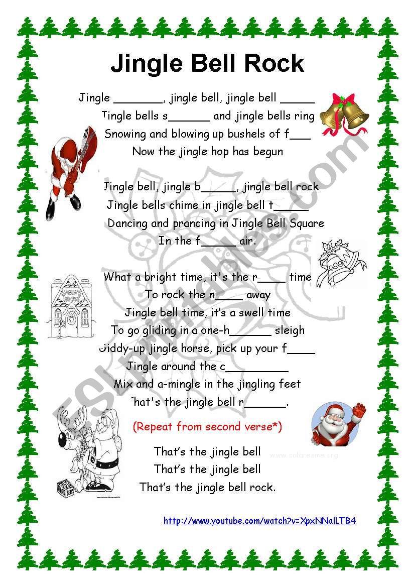 Jingle bell song- Lyrics + youtube link - ESL worksheet by piedadrosell