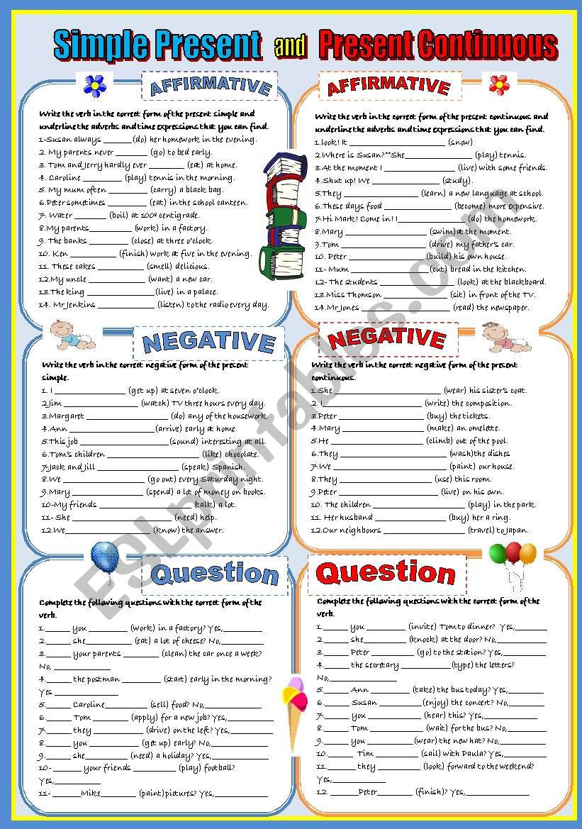 PRESENT SIMPLE VS PRESENT CONTINUOUS-  A COMPLETE REVISION- *AFFIRMATIVE**NEGATIVE* *INTERROGATIVE * and *SHORT ANSWERS*.