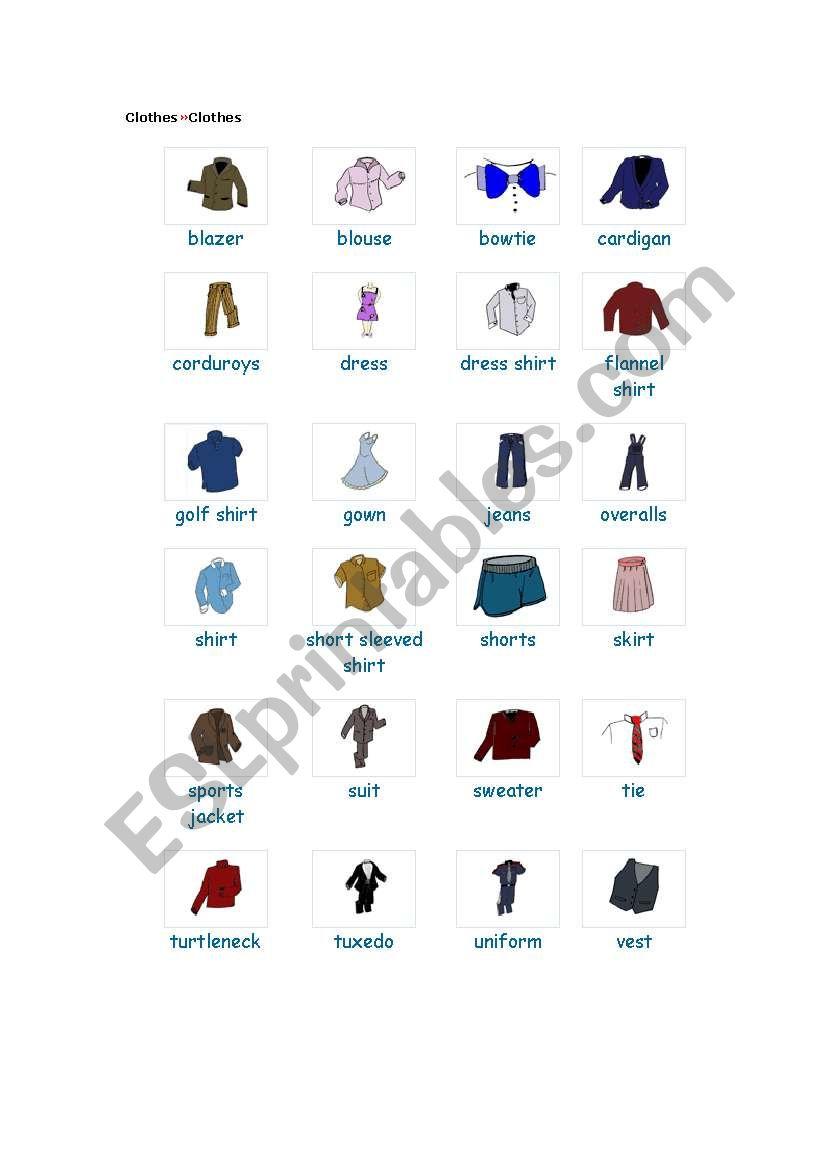 Clothes We Wear Esl Worksheet By Jalonsog