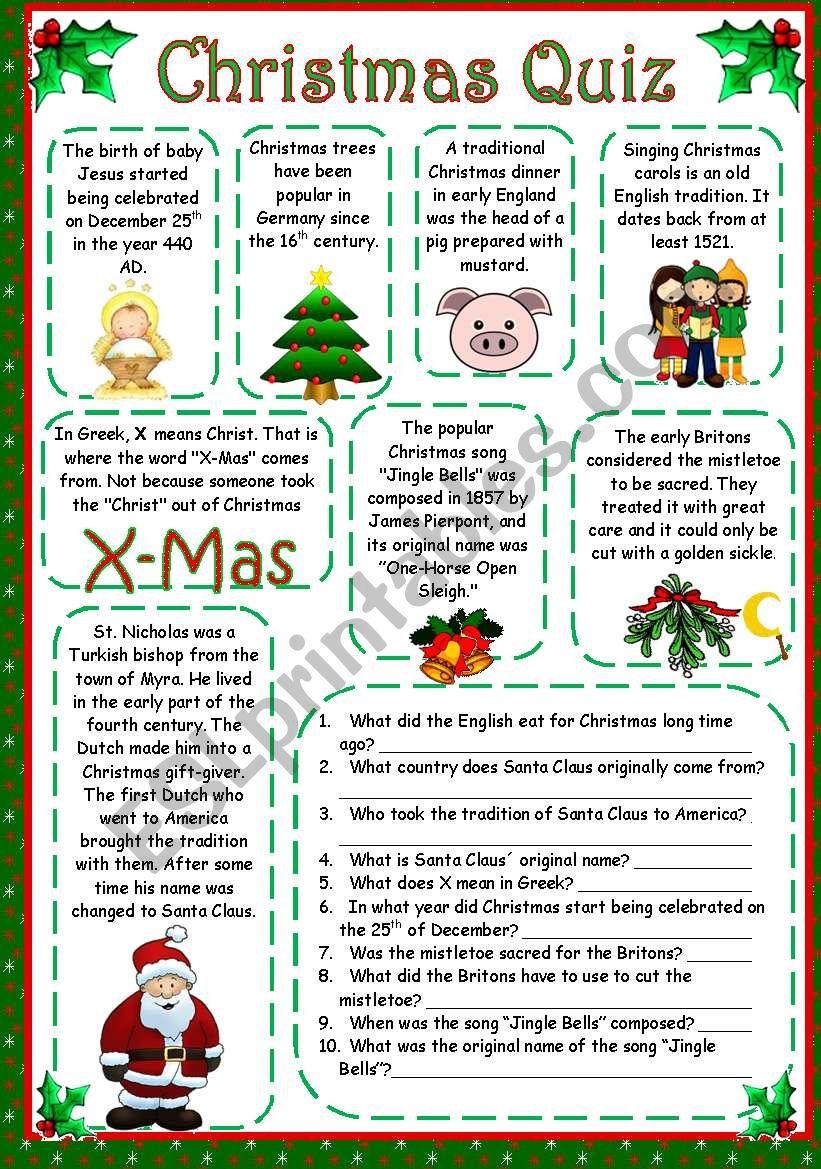 Christmas Quiz worksheet