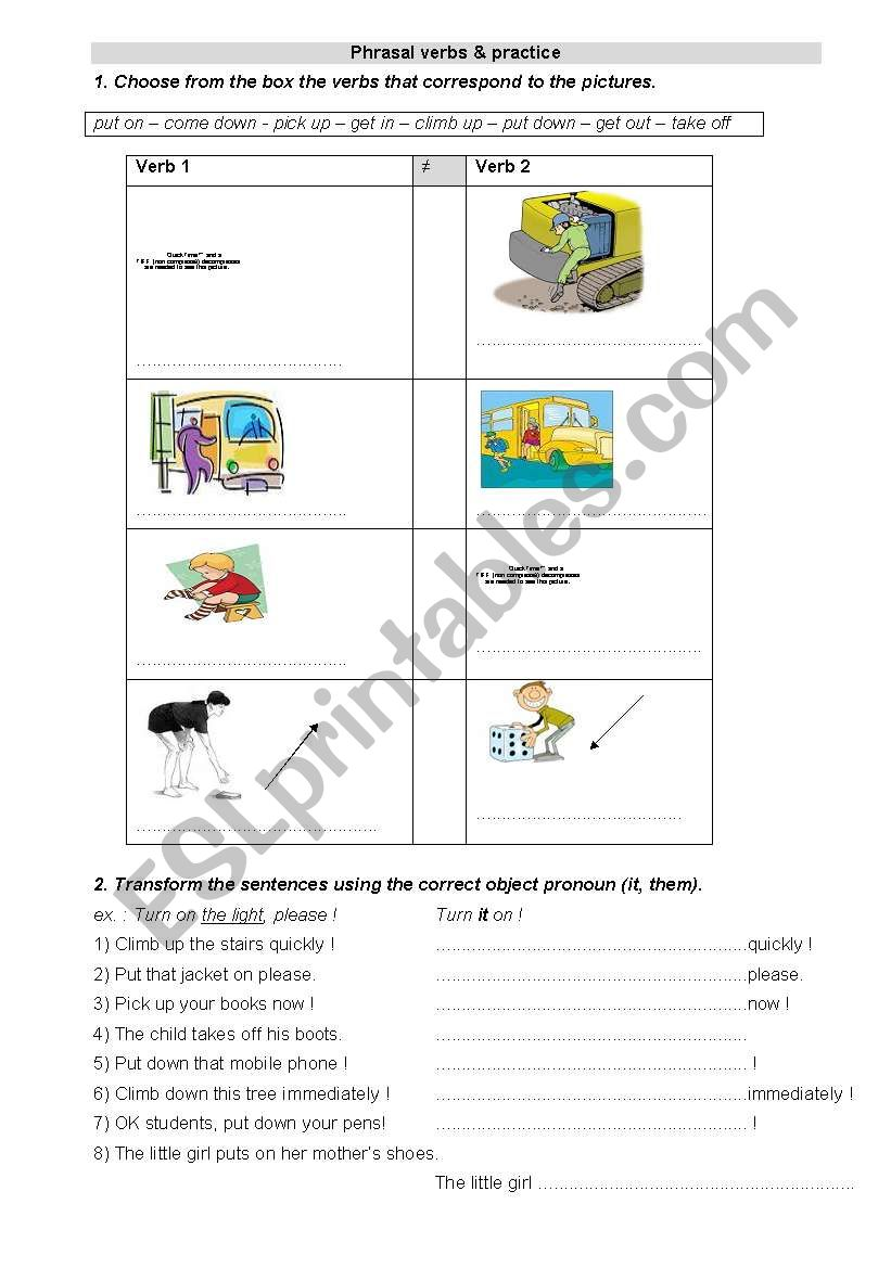 phrasal verbs worksheet
