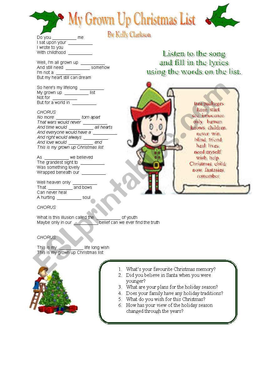 My Grownup Christmas List Lyrics.My Grown Up Christmas Wish By Kelly Clarkson Esl Worksheet