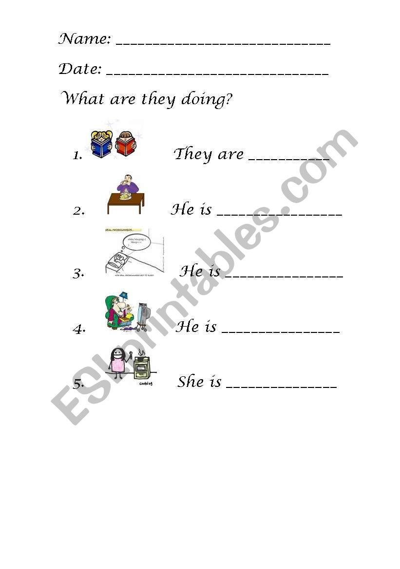 ACTIONS IN THE HOUSE worksheet