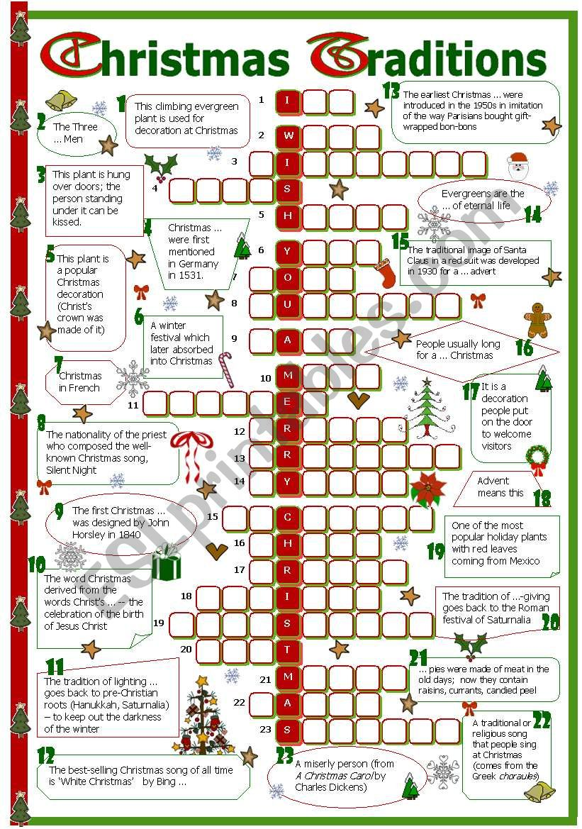 Christmas traditions crossword