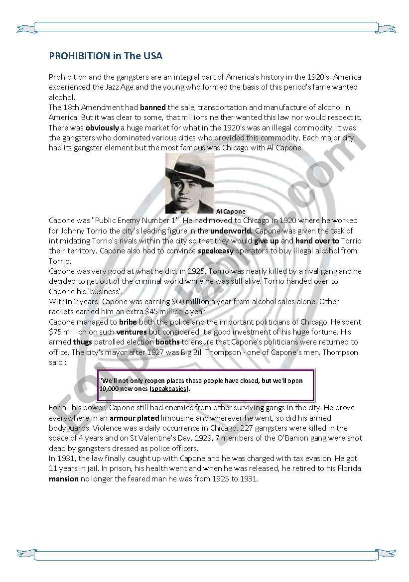 Prohibition in America and Al Capone: Reading Comprehension +key