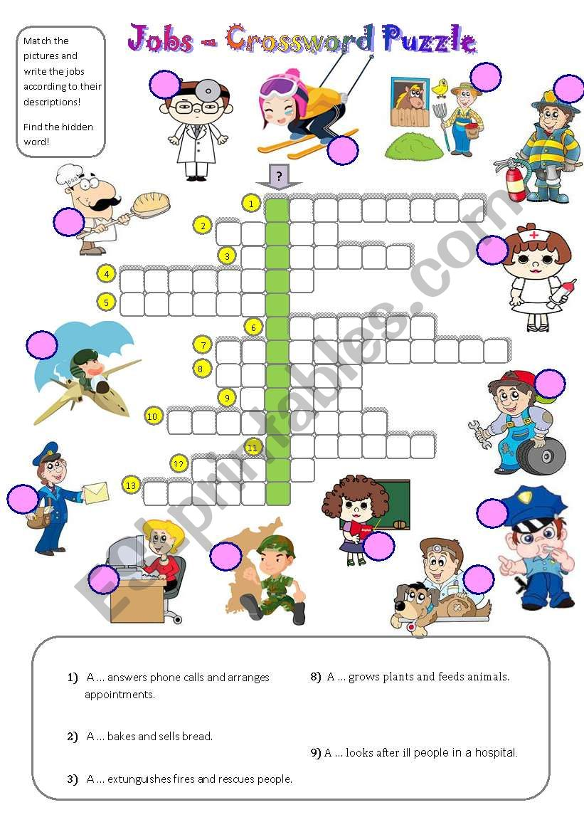 jobs - crossword puzzle - ESL worksheet by gyzmys