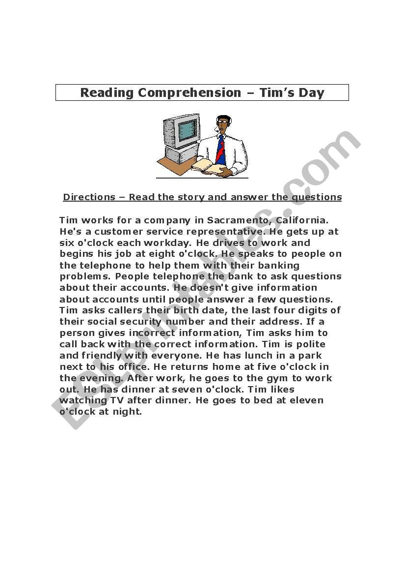 - Reading Comprehension Exercise With Answer Sheet -