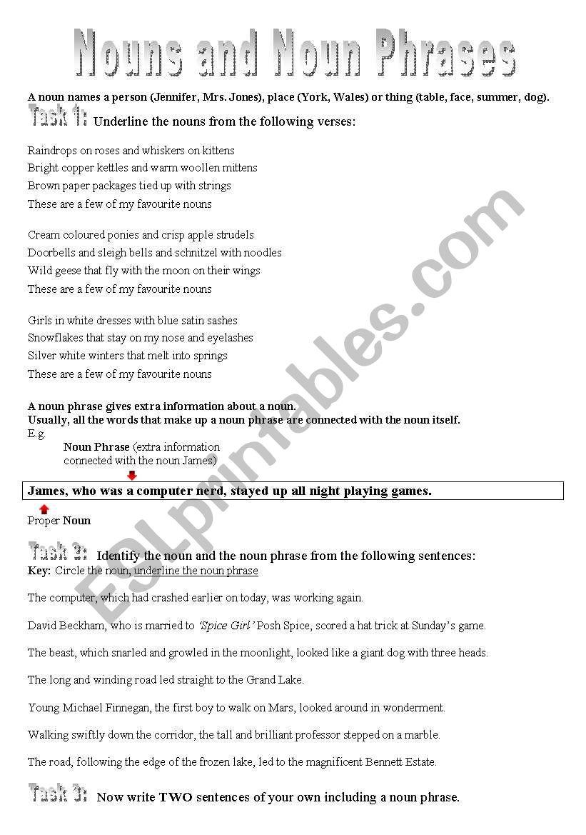 English worksheets: Nouns and Noun Phrases