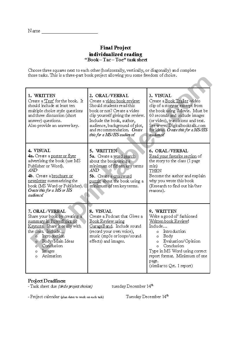 Book Review In Different Key Story Of >> Book Review Project Book Tac Toe Esl Worksheet By Ecola