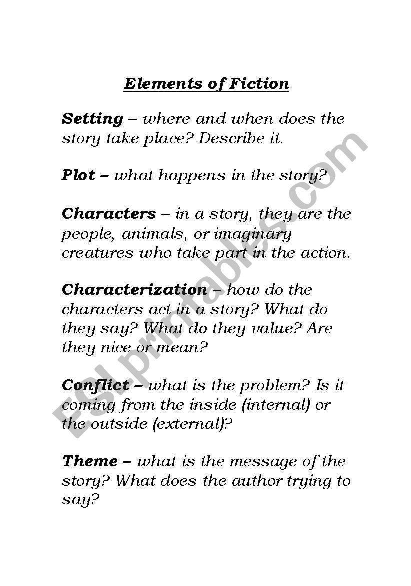 worksheet Elements Of Fiction Worksheet english worksheets elements of fiction worksheet