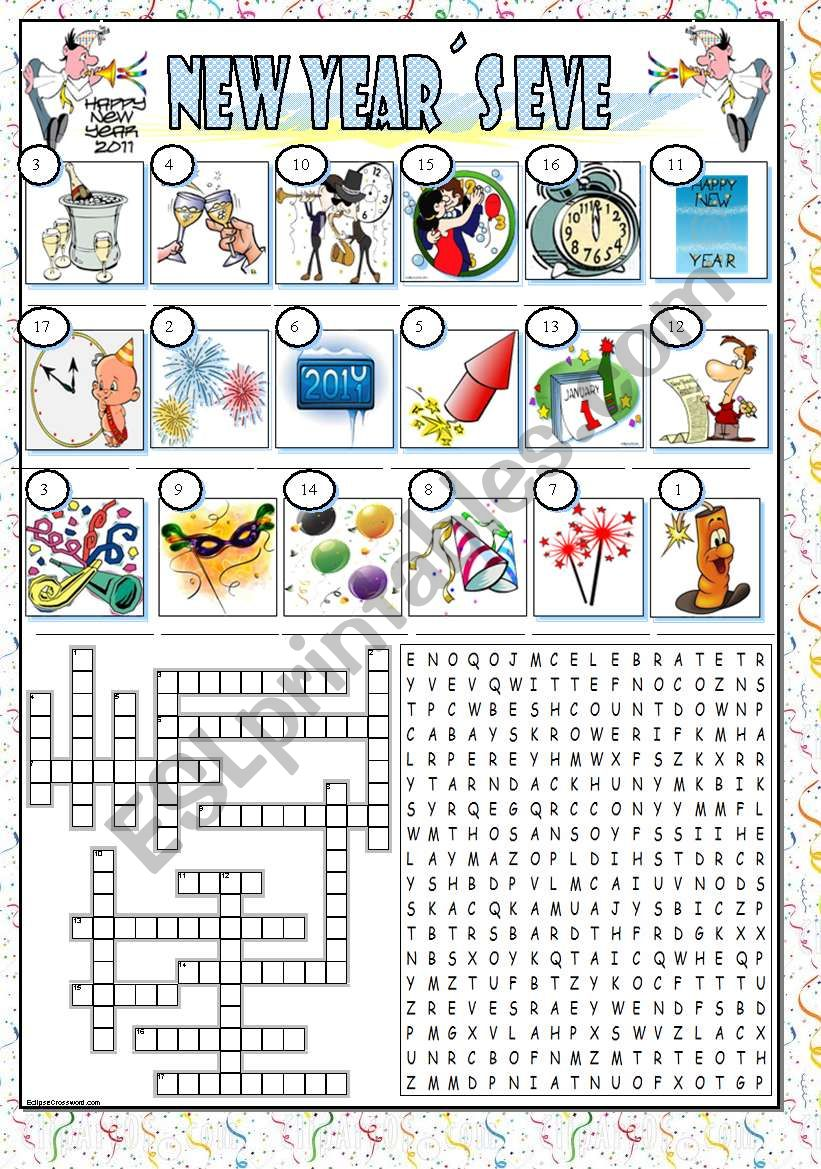 New Year´s Eve (BW and key) worksheet