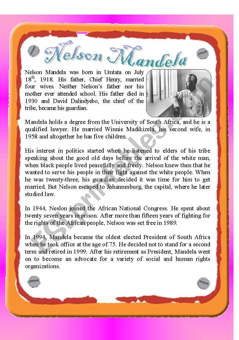 Reading - Nelson Mandela worksheet