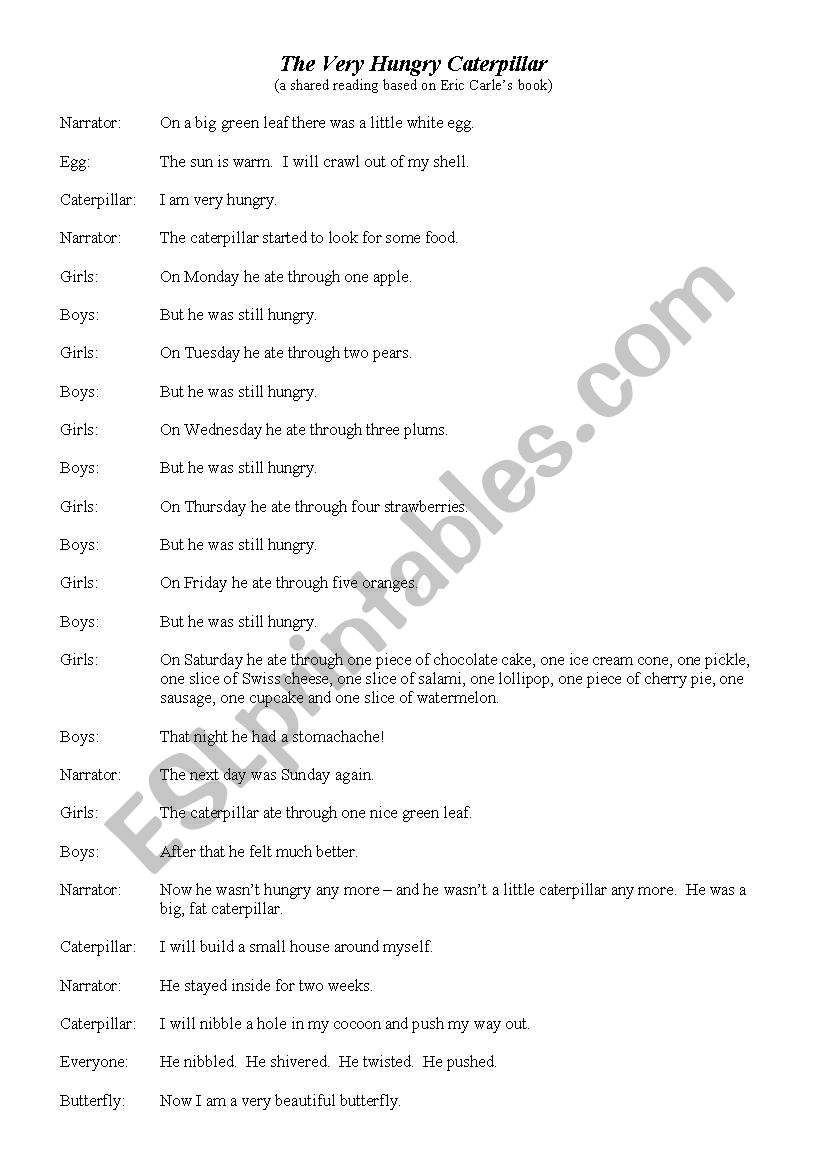 Readers Theatre Script Based On Eric Carle 180 S Book 180 The