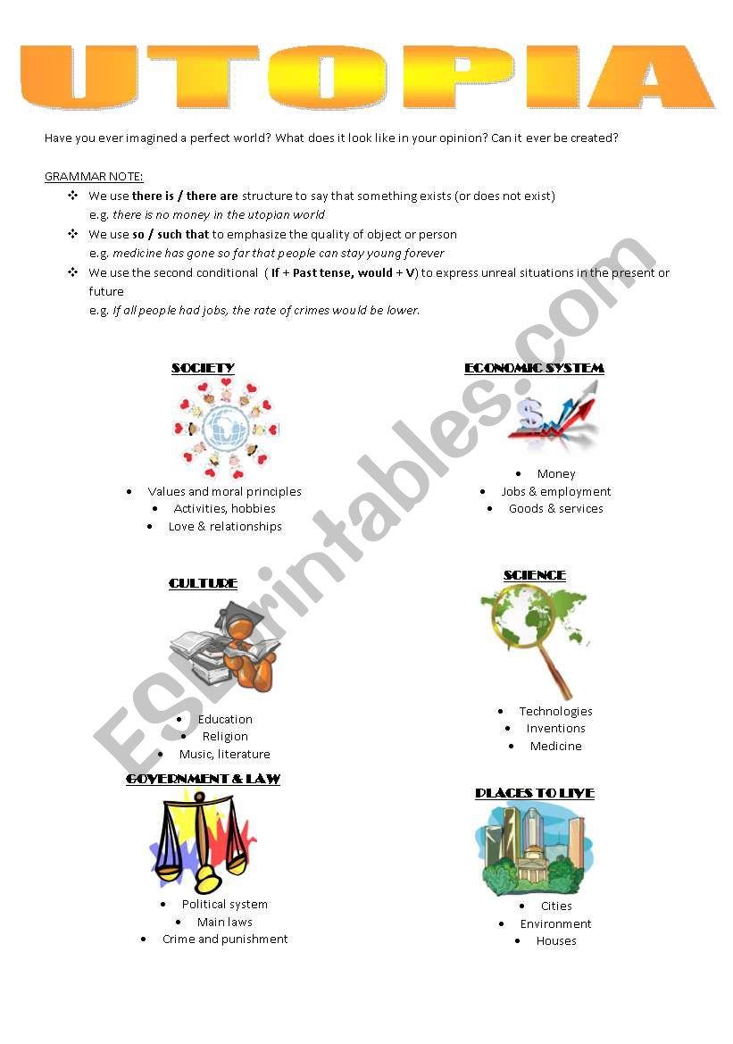 Utopia - ESL worksheet by ninababych