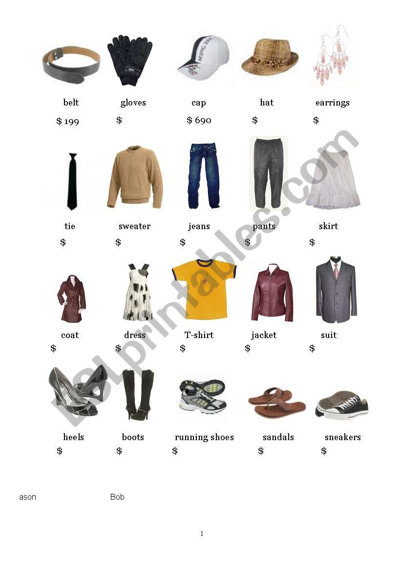 clothes and prices flash card