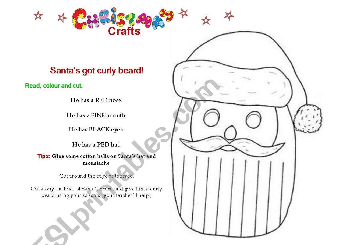 Christmas Craft 2 Santa S Curly Beard Esl Worksheet By Dionne1 03