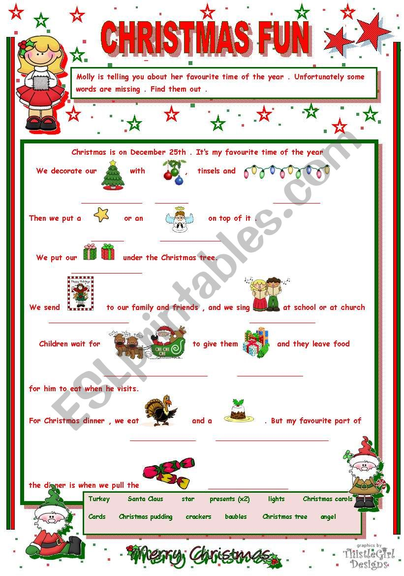 CHRISTMAS FUN WITH MOLLY worksheet