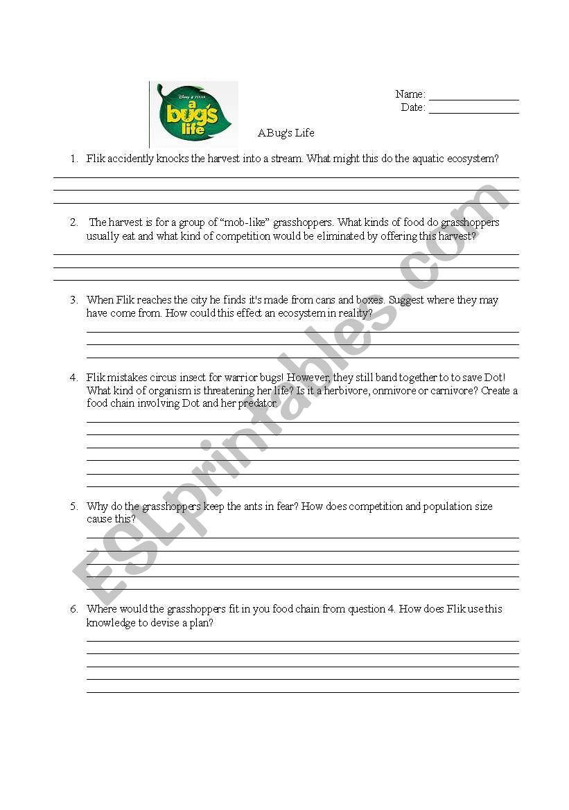 English Worksheets A Bug S Life Worksheet For Grade 10 Science