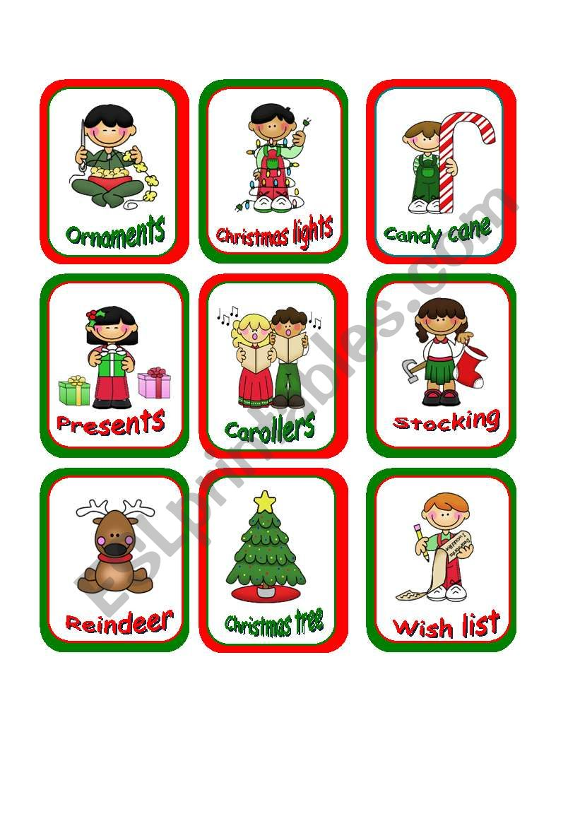 Christmas memory cards worksheet