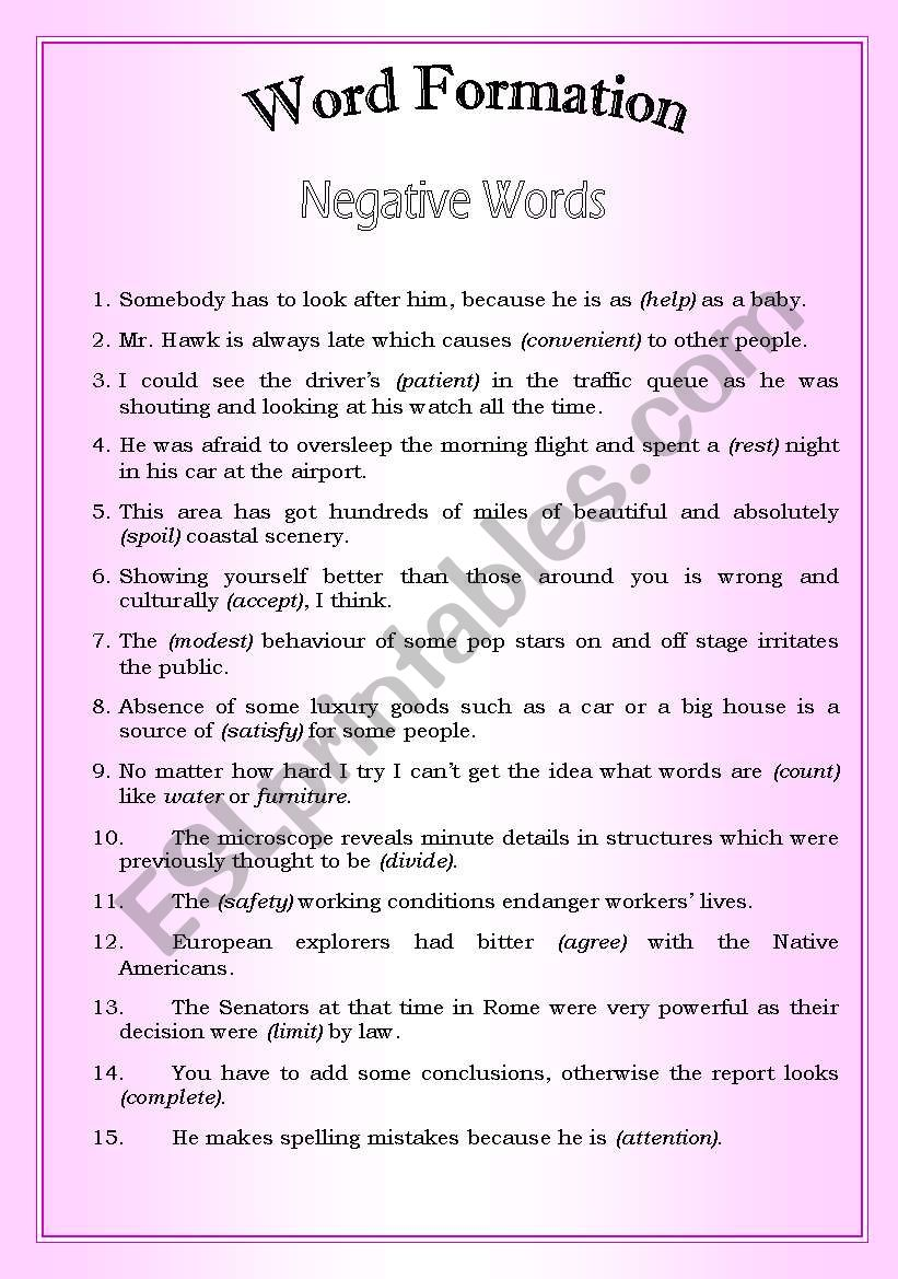 Word Formation (Negative words)