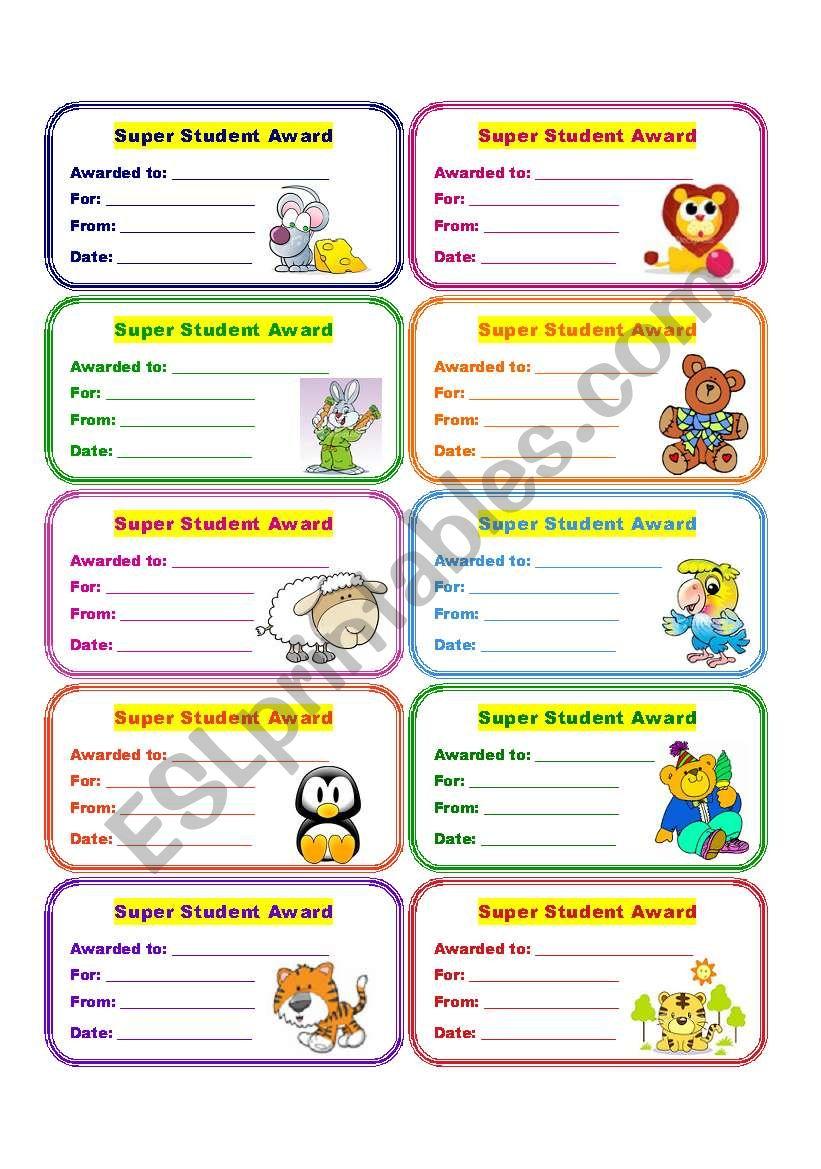 AWARDS 4 worksheet
