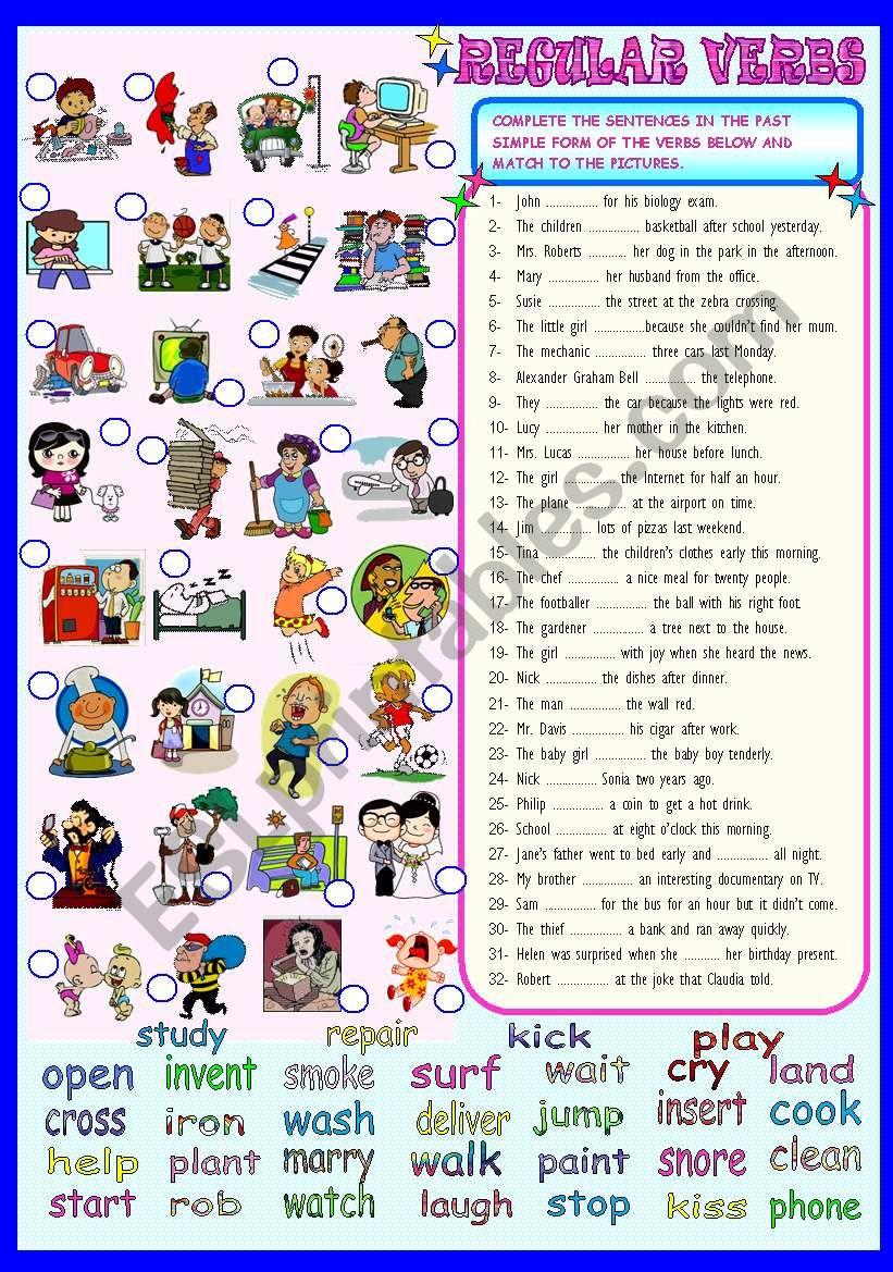 PAST SIMPLE - REGULAR VERBS worksheet