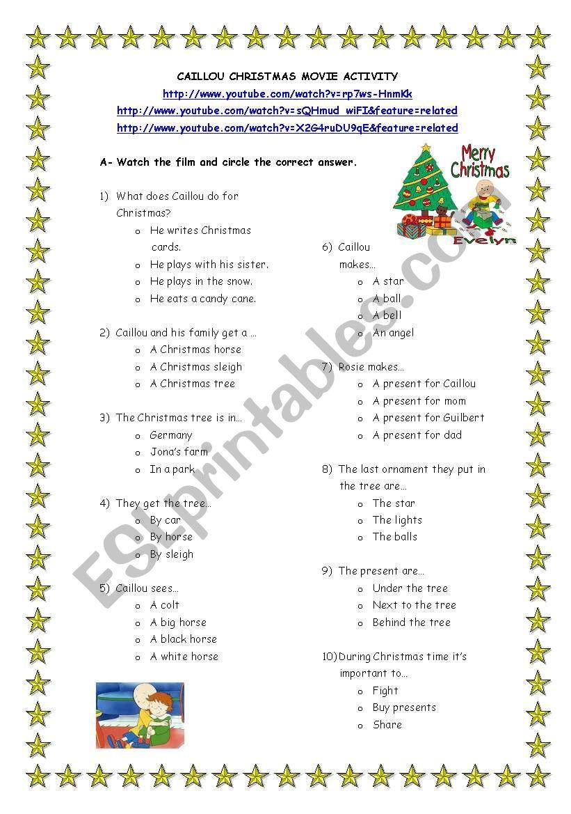Christmas movie activity worksheet