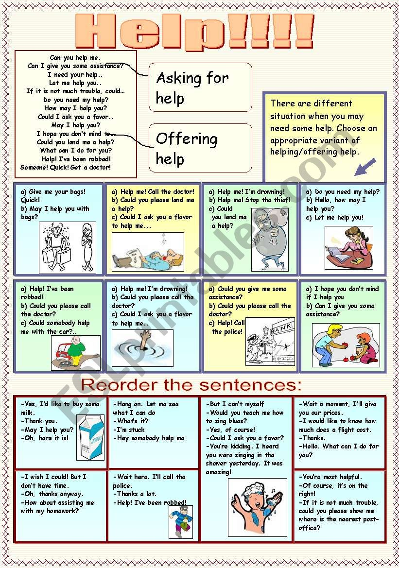 How to ask for help and to offer help - ESL worksheet by