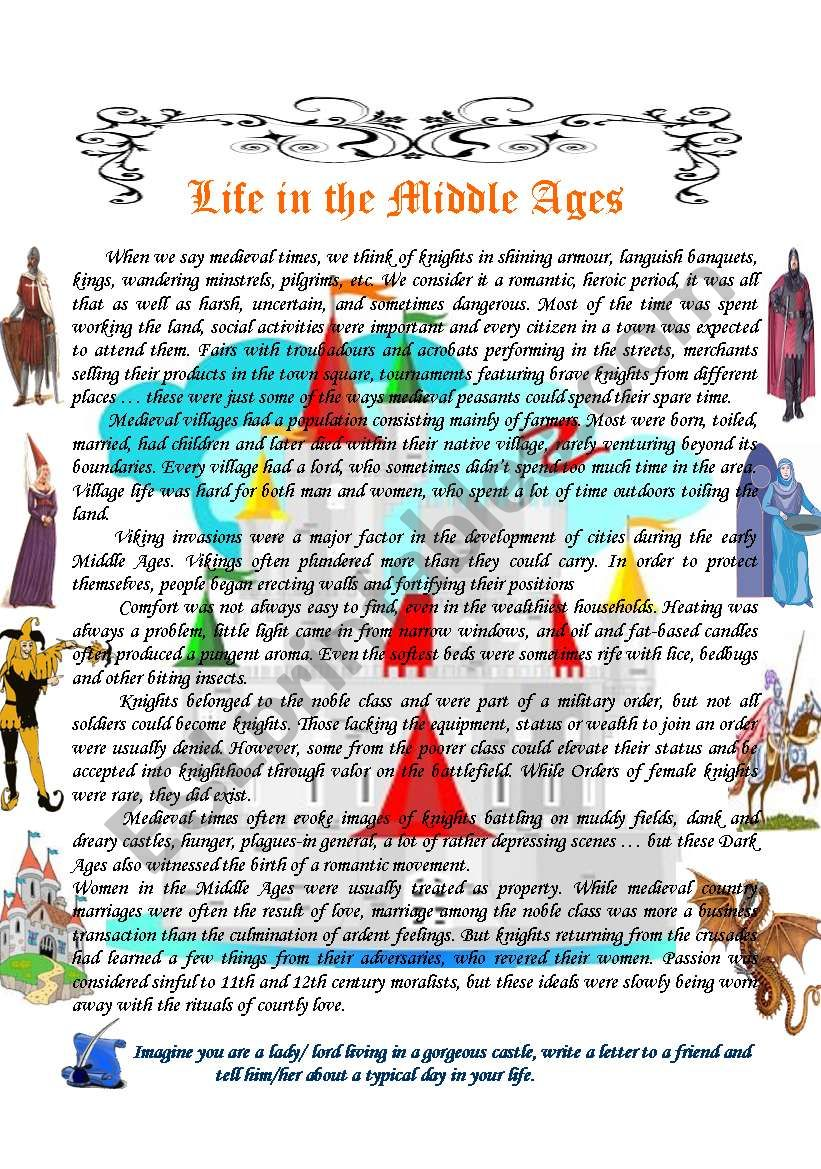 Life in the Middle Ages - ESL worksheet by Vale A.