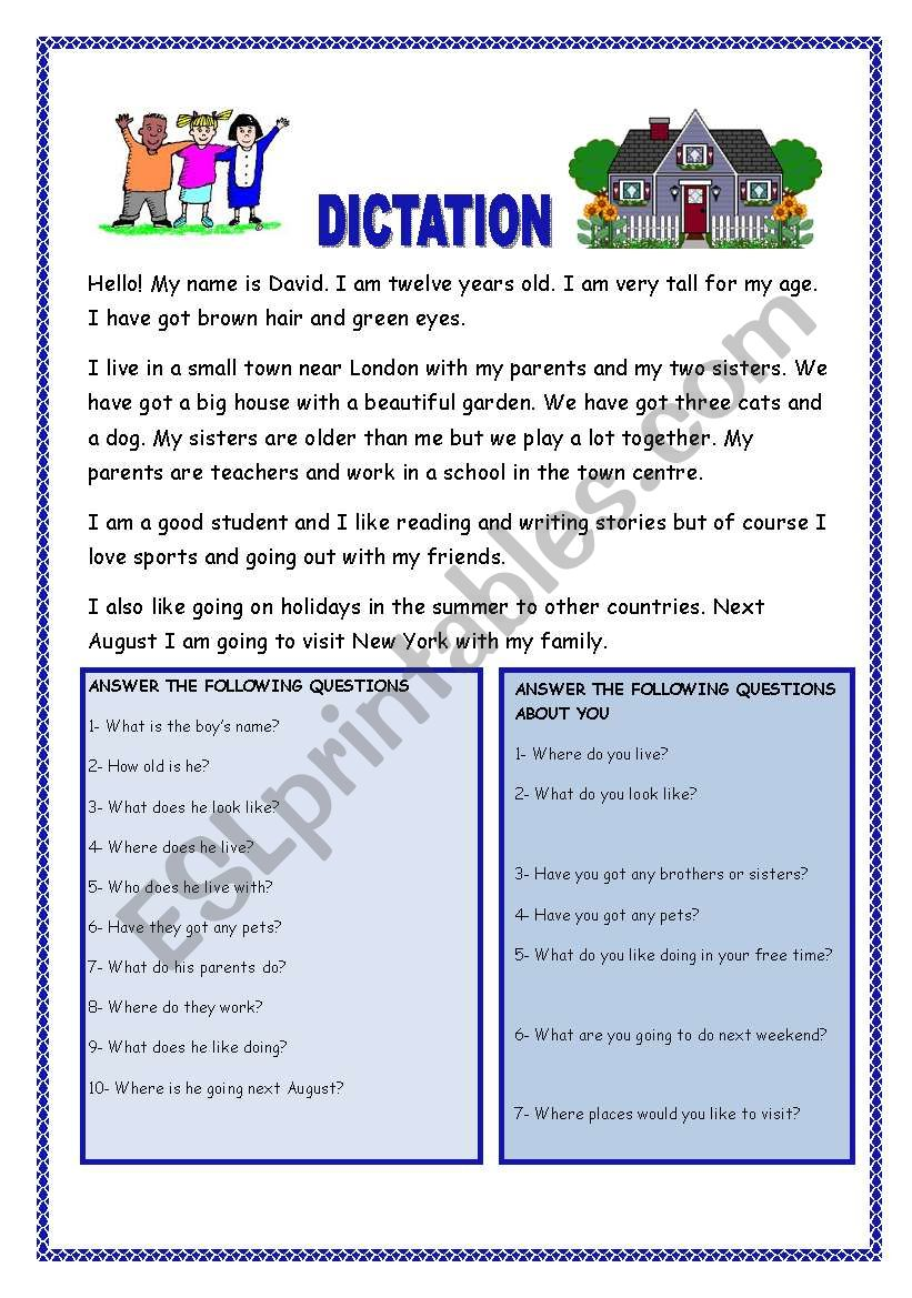 DICTATION FOR BEGINNERS WITH QUESTIONS. YOLANDA