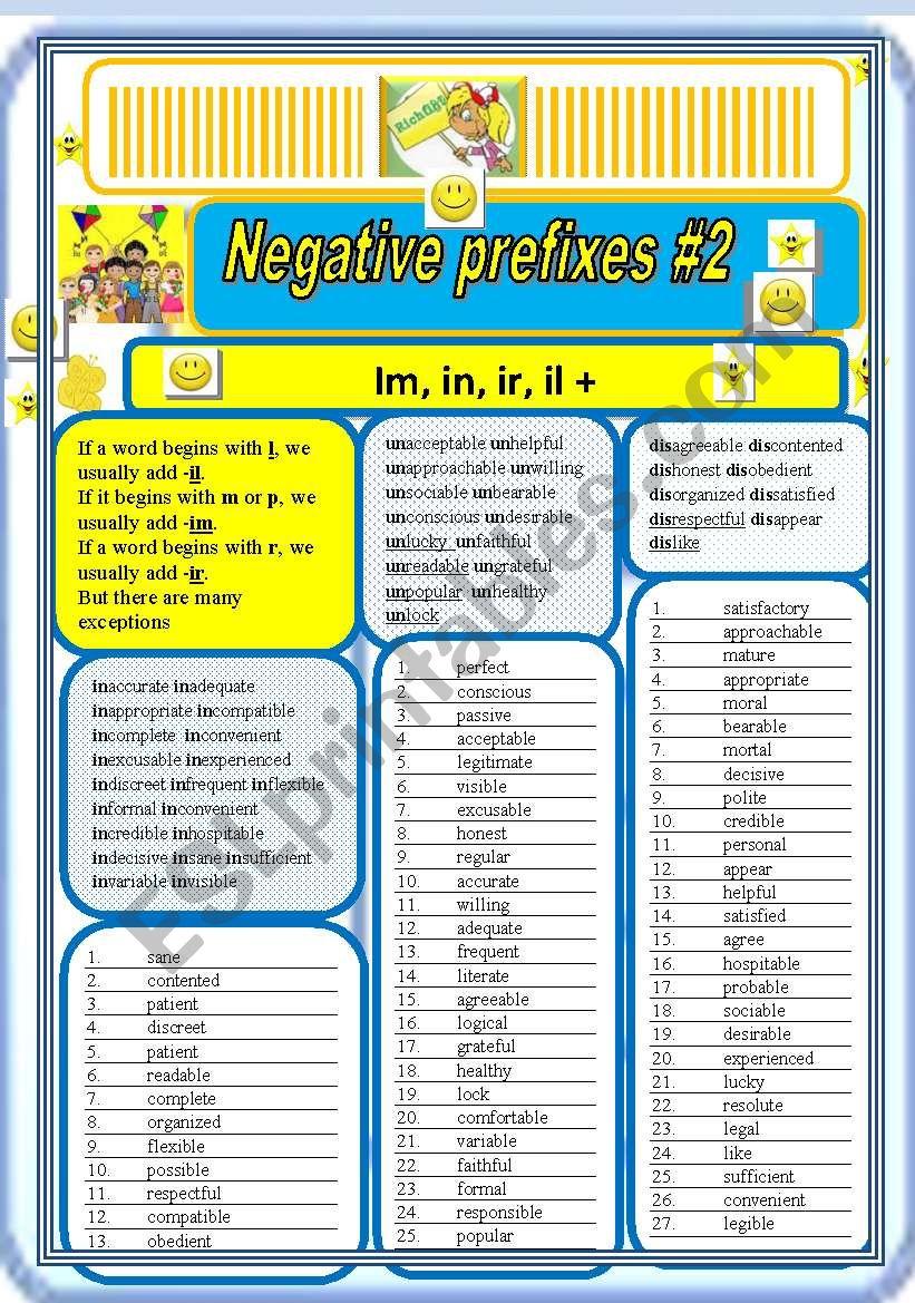 Negative prefixes step 2 il, ir, im, +