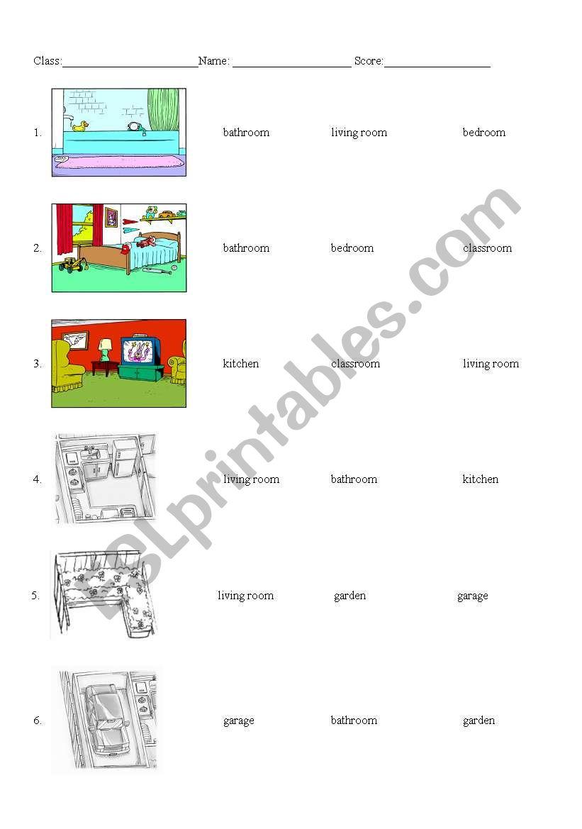 Rooms Worksheet: ESL Worksheet By Yitinhuang