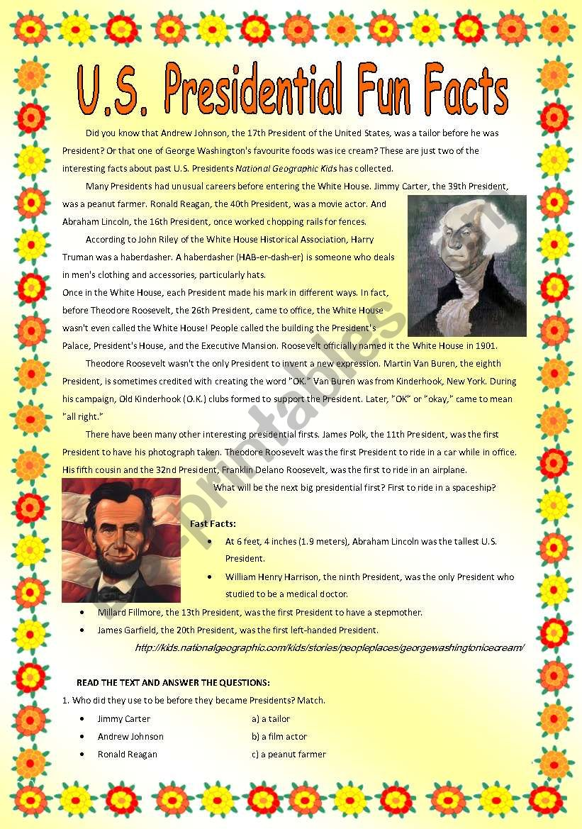 Us Presidential Fun Facts Worksheet