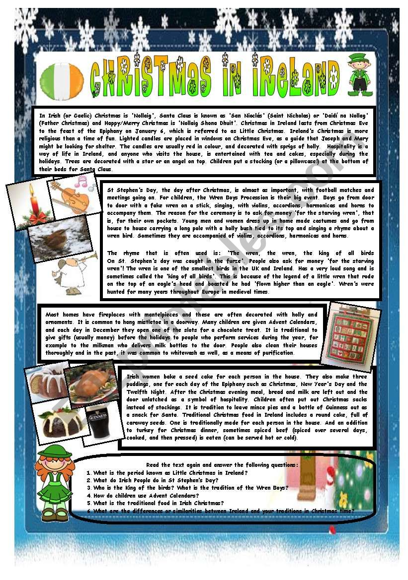 CHRISTMAS AROUND THE WORLD - PART 7 – IRELAND  (B&W VERSION INCLUDED) - READING COMPREHENSION