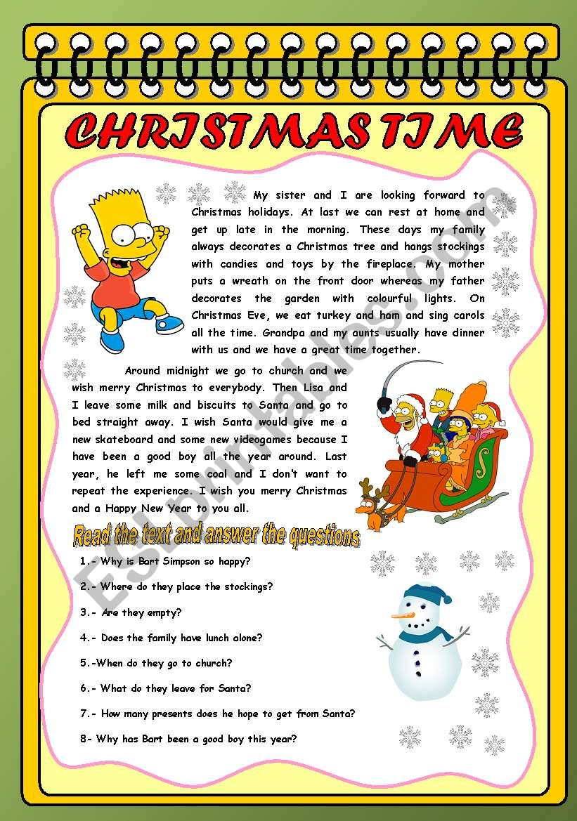 THE SIMPSONS AND CHRISTMAS worksheet