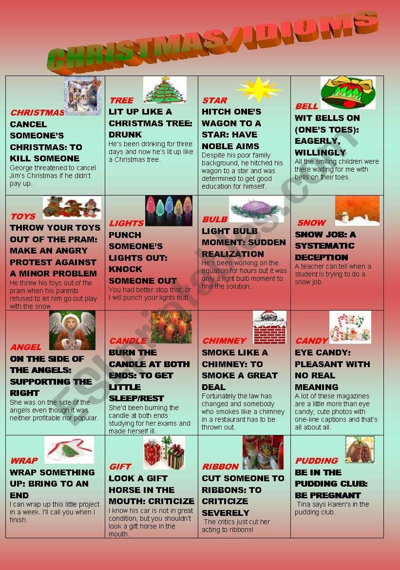 christmasidioms worksheet - Christmas Idioms