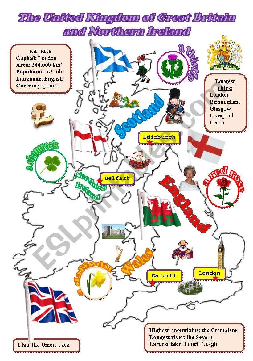 The UK: map worksheet