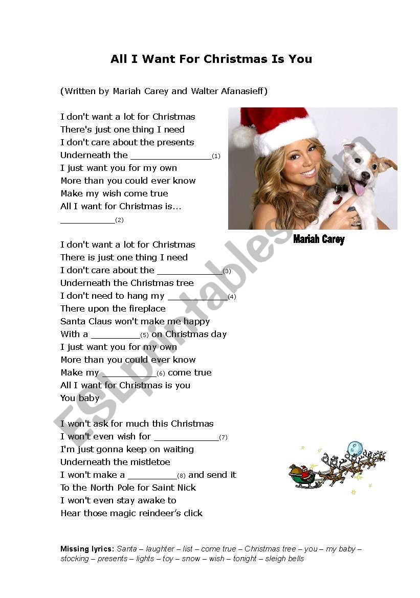 I Dont Want Alot For Christmas Lyrics.All I Want For Christmas Is You Cloze Esl Worksheet By Howdy