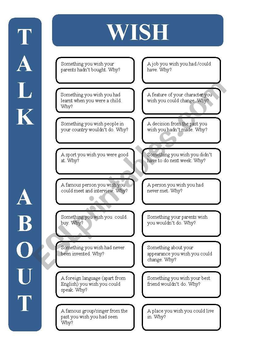 Wish - 18 conversation cards (editable)