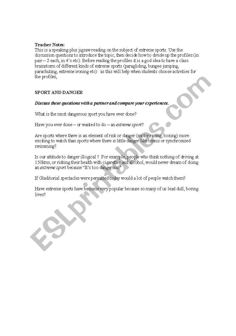 English worksheets: Extreme sports, speaking and reading