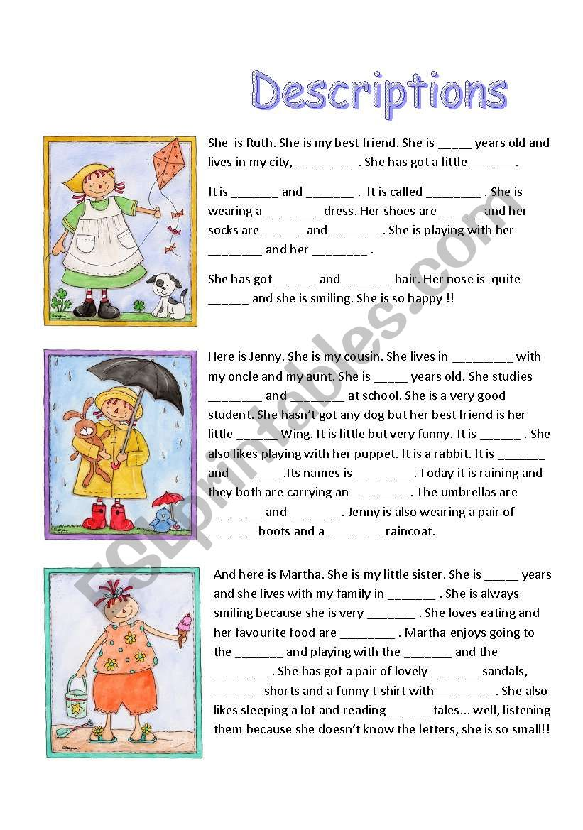 THREE DESCRIPTIONS worksheet