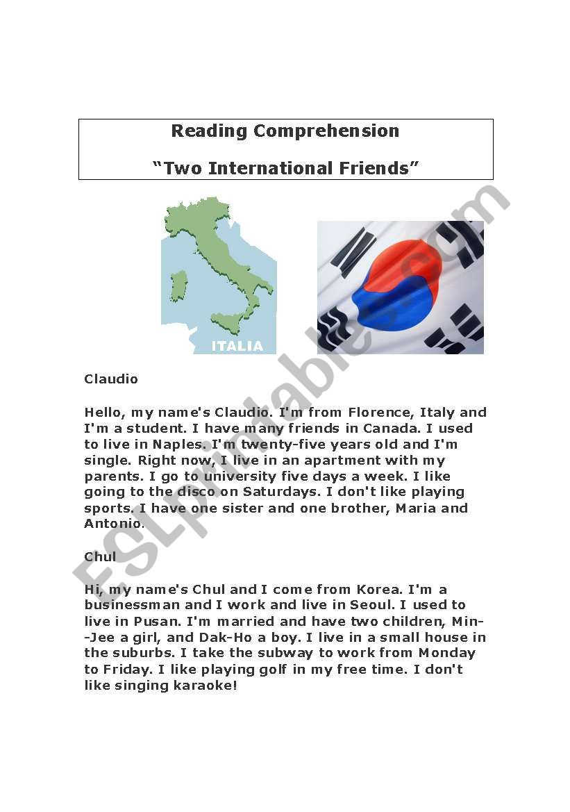 """""""International Friends"""" - Reading Comprehension Exercise ..."""